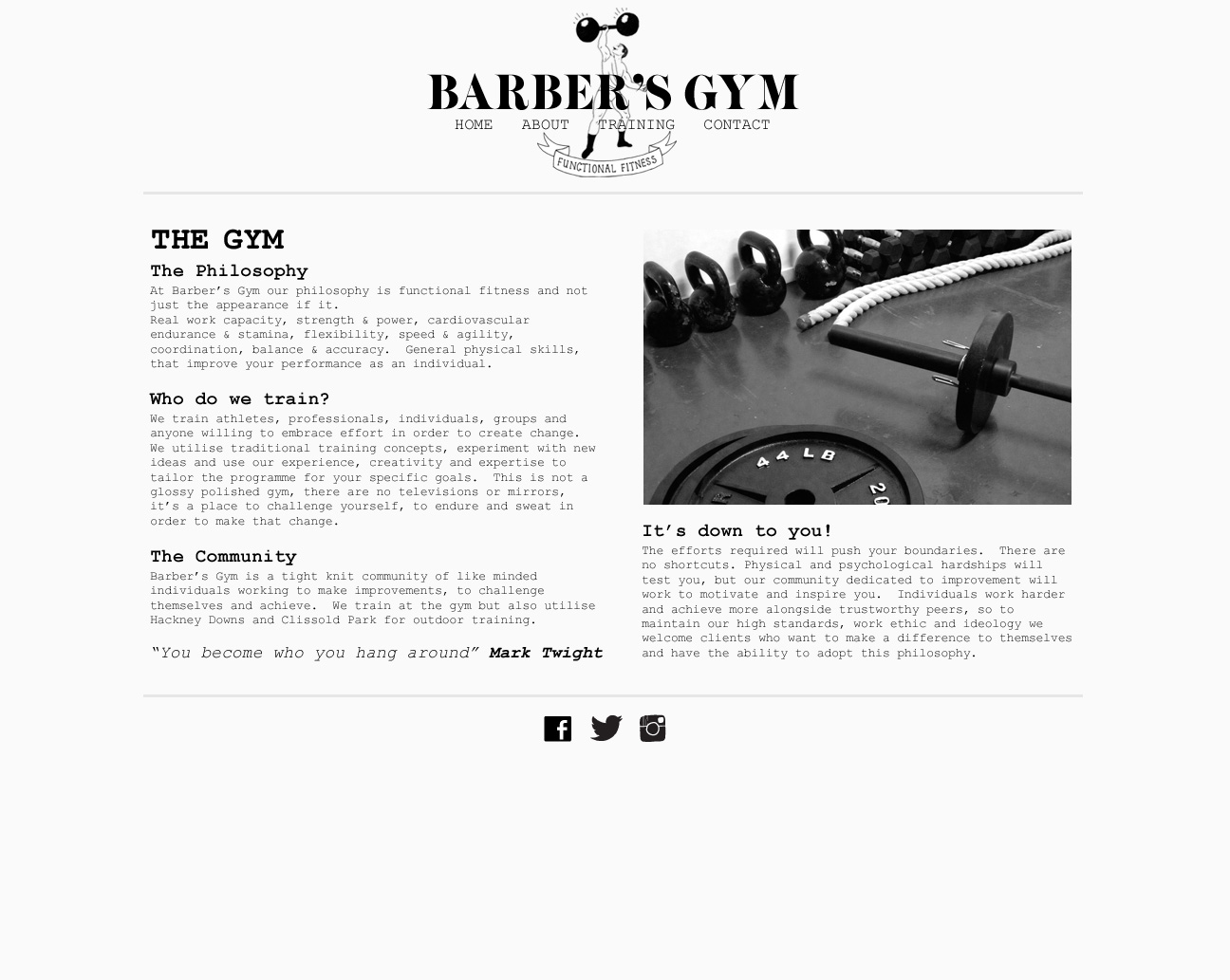 Barbers Gym - website section responsive