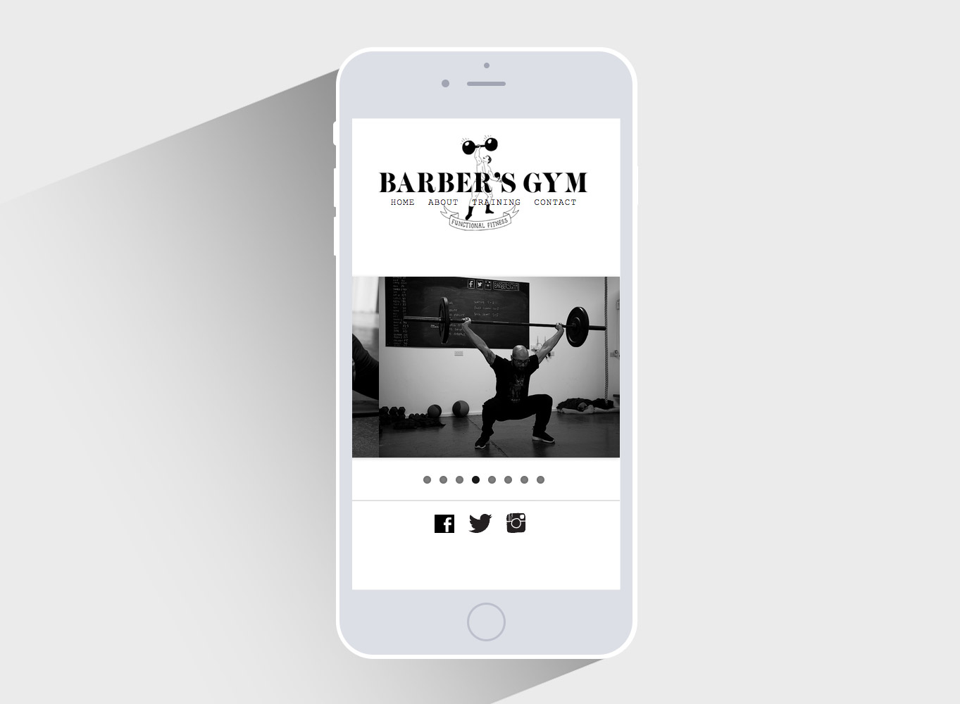 Barbers Gym - homepage responsive mobile
